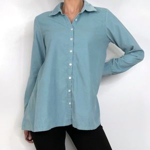 J Jill Blue Corduroy Swing Cut Button Down Shirt